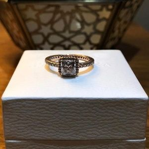 Pandora 14K Square, Rose Plated Halo Ring